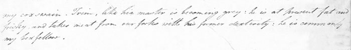 Single sentence from Flinders' letter to his wife dated 25th June 1803