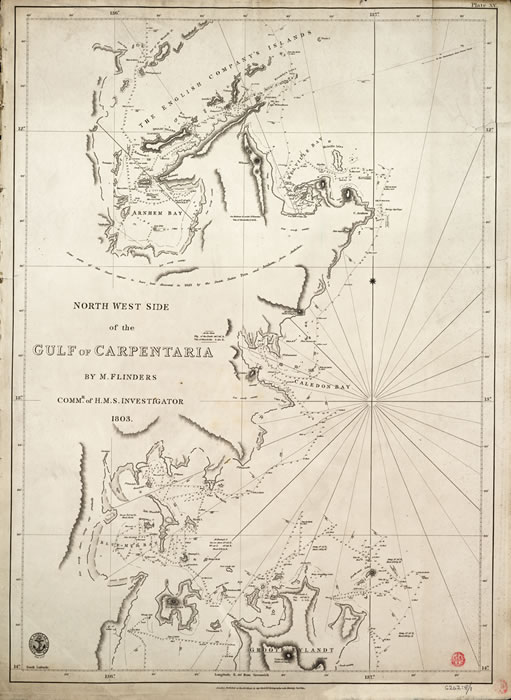 Printed chart of the north west side of the Gulf of Carpentaria
